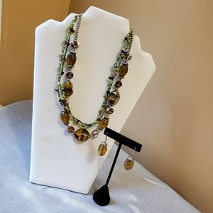 Fashion jewelry necklace and earrings set